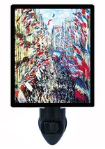 Night Light, Rue Montorgueil, Monet, France French Flags - $21.75