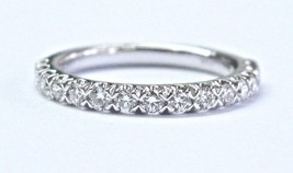 Blue Nile 18Kt Round Cut Diamond White Gold Stackable Band Ring .50Ct - £887.42 GBP