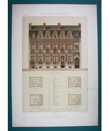 ARCHITECTURE Beautiful Color Print - VICTORIAN Mansion Paris rue de Cour... - $53.96