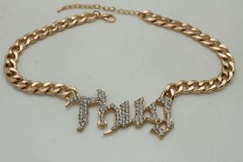 Chic Femme Métal or Sexy Hip Hop Mode Bling Argent Collier Thug Pendentif image 5