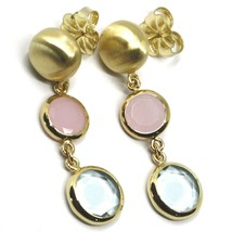 925 STERLING SILVER PENDANT YELLOW EARRINGS 4.5cm, NUGGET, PINK BLUE GLASS PASTE image 1