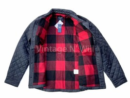 Abercrombie Fitch Jeans Mens L Black/ Red Buffalo Check Diamond Quilted ... - $80.75