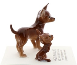 Hagen-Renaker Miniature Ceramic Dog Figurine Chihuahua Mama and Tiny Pup Brown image 4