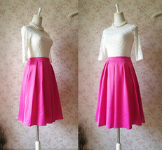 Dressromantic Lady A Line Taffeta Midi Skirt Full Pleated Party Skirt -hot pink - $58.50