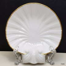 "Noritake Sea Shell Trinket Dish 5"" Ivory Gold Trim Ring Holder Candy N3893 - $17.82"