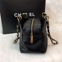 AUTHENTIC CHANEL QUILTED CAVIAR PST PETITE SHOPPING TOTE BAG BLACK SHW RECEIPT image 5