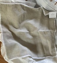 Pottery Barn Belgian Flax Pillow Cover Natural White Edge 18 sq Linen Co... - $29.50