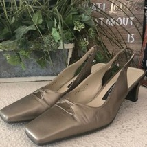 Etienne aigner Cain gold sling back chic shoes - $28.71