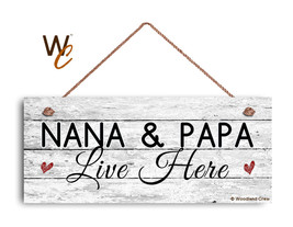 Nana and Papa Live Here Sign, Rustic Weathered 6x14 Sign, Grandparent Gift - $17.33