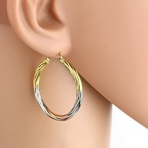 Contemporary Tri-Color Silver, Gold & Rose Tone Hoop Earrings- United El... - $14.99