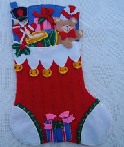 1991 Rare Bucilla Jumbo Finished Christmas Stocking Kit Chock Full Of Toys Kit # - $299.99