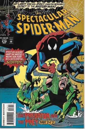 The Spectacular Spider-Man Comic Book #216 Marvel Comics 1994 VERY FN/NEAR MINT - $2.75