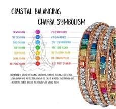 Chakra Bracelet Jewelry Handmade Leather Wrap Bracelet Multi Color Spare... - $29.51