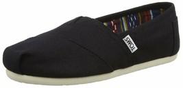 Nuevo Toms Mujer Clásico Negro de Tela sin Cordones Zapatos Planos NWOB image 2