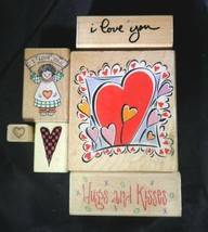Rubber Stamp Hugs Kisses Valentines I Love You Rag Doll Blooming Hearts Lot - $16.78