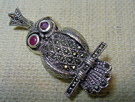 925 Sterling Silver Heavy Marcasite Owl Pendant Brooch (Hallmarked In The Uk) - $109.75