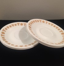 Set of 5 Vintage 70s Corelle Saucers with Gold Butterfly pattern