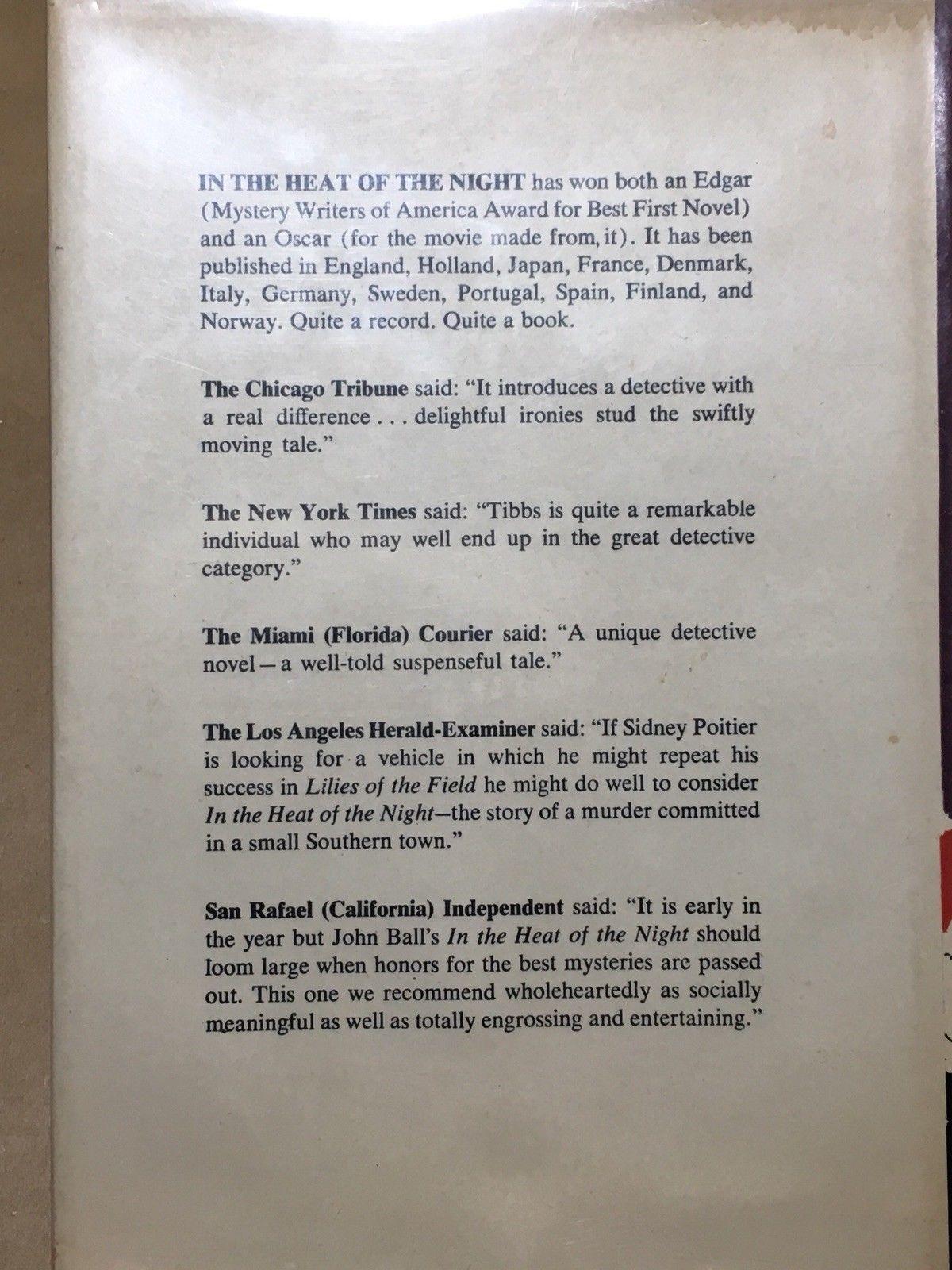 IN THE HEAT OF THE NIGHT - John Ball Inscribed First Taiwan Ed. Virgil Tibbs
