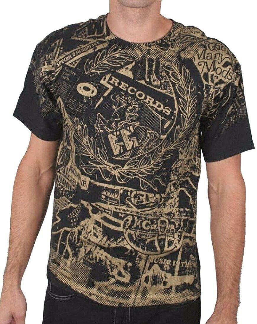 Wrecords By Monkey Brooklyn Negro Oro Pantalla Estampado Disco LP Camiseta