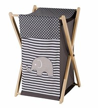 Bacati Elephants Unisex Hamper Cover with Natural Finish Wood Frame and ... - $62.38