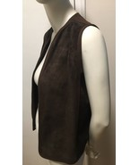 Vintage 70s Genuine Leather Suede Vest Dark Brown Medium Brown Trim Sz X... - $24.75