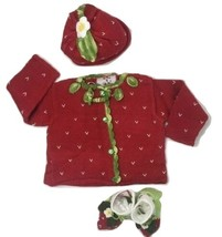 Baby Girls Hand Knit 3pcs Size 24 Months Sweater+Hat+Booties Strawberry Gift NEW image 2