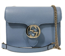 NEW GUCCI 510304 Interlocking Blue Leather Chain Crossbody Bag - $891.00