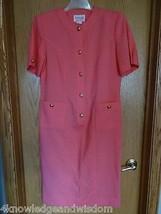 Vintage Henry Lee Petites Short Sleeve Salmon Pink Dress Front Pockets S... - $21.23