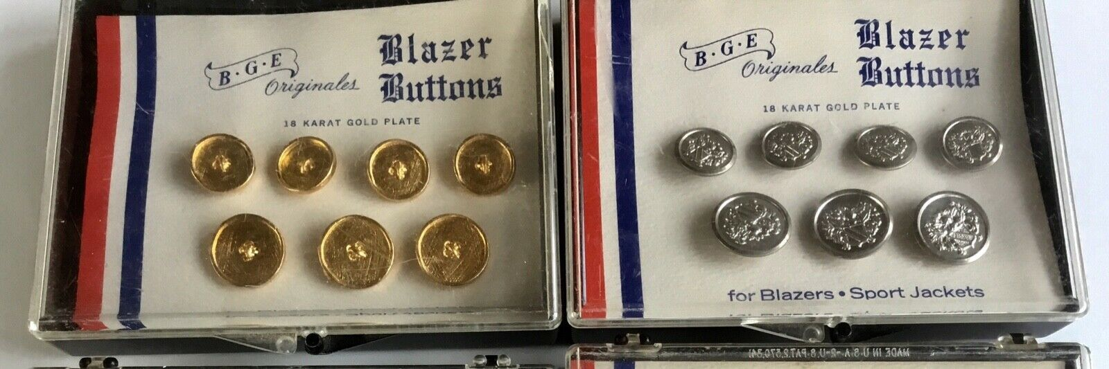 6 Sets BGE Originales Blazer Jacket Buttons 18K Gold Eagles Crests Waterbury