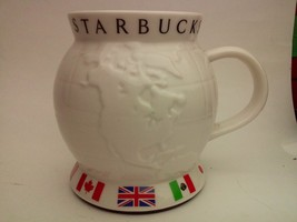 2002 Starbucks Barista Coffee 24oz Globe Travel Mug White - $33.94