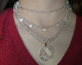3 Strand Clear Crystal Lattice Pear Necklace image 2