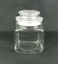 Anchor Hocking Small Apothecary Square Storage Jar Clear Glass Stopper L... - $12.86