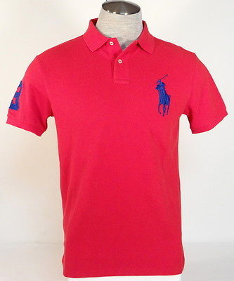 Ralph Lauren Custom Fit Red Short Sleeve Polo Shirt Big Blue Polo Pony Men's