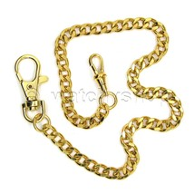 "Vintage Gold Tone Heavy Clasp Brass Pocket Watch Chain Fob 14"" Men Acces... - $17.44"