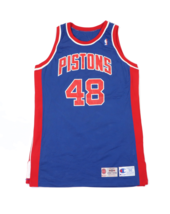 Vtg Champion NBA Detroit Pistons Blank Player Issued Jersey #48 94/95 Bl... - $267.25