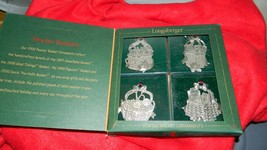 LONGABERGER 2002 PEWTER CHRISTMAS ORNAMENT SET 4 PC  NEW IN BOX FREE USA... - $14.95