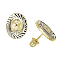 Lady Of Guadalupe Virgin Mary Stud Earrings Screw Back 14K Yellow & Whit... - $89.09