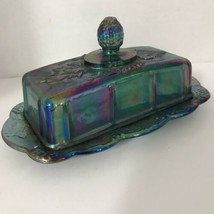 Vintage Carnival Glass Blue Iridescent Indiana Co Butter Dish with Lid - $31.64