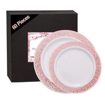 60 Pieces Rose Gold Plates, Plastic Lace Plates for Party, Premium...  - $32.76