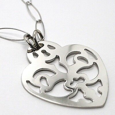 Silver 925 Necklace, Chain Oval, Heart Dish Perforated, Pendant