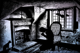 the fallen man praying creepy printable art original abstract digital do... - $4.99