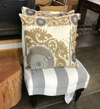 Pottery Barn Suzani Pillow Cover Neutral 24 sq Embroidered Crewel Metall... - $29.50