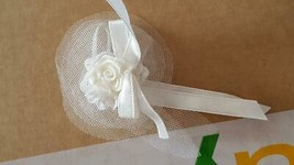 WHITE FANCY WEDDING HAIR BAND BARBIE SIZE,LABEL REMOVED,TUELLE,SATIN RIB... - $4.94