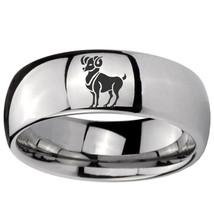 8mm Aries Zodiac Horoscope Mirror Dome Tungsten Carbide Mens Ring Personalized - $43.99