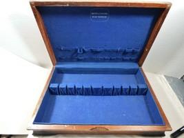 VTG Holmes & Edwards Wood Flatware Storage Box Chest Anti-Tarnish Fabric - $54.45