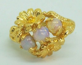 Vintage Ring Avon Faux Opal Gold Tone Flower Adjustable Size 4 to 6 Signed - $14.84