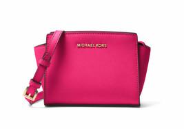 Michael Kors Mini Selma Saffiano Leather Crossbody Messenger Ultra Pink ... - $135.43