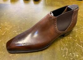 Handmade Men's Brown Heart Medallion Leather Chelsea Shoes image 4