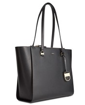 NWT New Womens DKNY Black Double Zip Tote Bag Handbag Large Logo Work Le... - $201.60