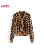 Tangada fashion women leopard sweater coat winter long sleeve v neck vin... - $26.80